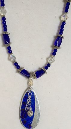 Cobalt Blue and Silver Tear Drop Necklace with Dangles, Earrings Available, 10 Dollars by MartinArtandBeads on Etsy