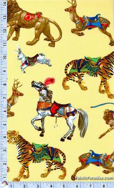 Carousel - Tossed Merry-Go-Round Animals on Yellow - Animals, Elkabee's Fabric Paradise.com, LLC