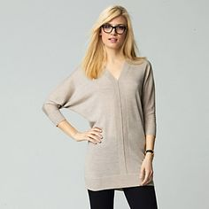 V-Neck Knitted Tunic - Natural - Knitwear   The White Company