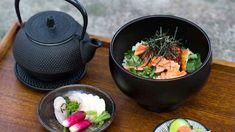Salmon and rice with green tea and pickled vegetables (salmon ochazuke with asazuke) recipe : SBS Food Japanese Vegetables Recipe, Pickled Vegetables Recipe, Veal Recipes, Salmon Recipes, Asian Recipes, Te Verde Sencha, Pickled Fish Recipe, Japanese Dishes, Japanese Food