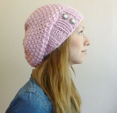 Light Pink Super Slouchy Beret READY TO SHIP by BoPeepsBonnets
