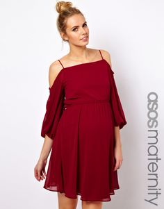 ASOS Maternity | ASOS Maternity Skater Dress With Open Shoulder at ASOS