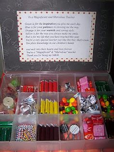 DIY craft boxes with candy...the candy stores sell these for about 20 bucks, but would be so easy to do yourself for way cheaper! Cute M & M poem for teachers too..