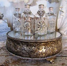 Ornate rhinestone bottles vanity tray set embellished pieced mirrored base w/ decorated glass bottle grouping home decor anita spero design