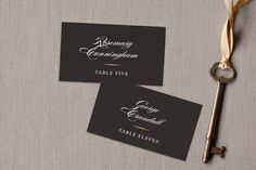 """Valencay"" - Elegant, Classical Wedding Place Cards in Silk by chocomocacino."
