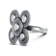 sarasas-maya-5-disc-ring Five discs in a graphic floral arrangement exude a lush, vibrant joy for this Sarasas ring.  The silver is oxidized to bring out the elegant groove detailing.  Simple and dramatic all at once, this classic piece is a lovely tribute to nature's most fleeting jewel.