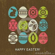 Wooden background with color easter eggs, vector illustration: