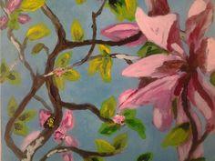 Magnolia , acryl op hout. Rinnie Kuurstra