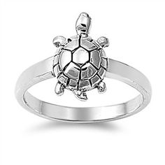 Sterling Silver Small Turtle Ring – Sparkle & Jade