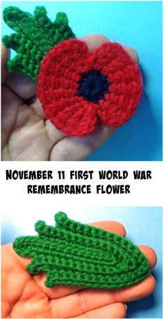 November 11 First World War Remembrance Flower - Crochet Ideas Crochet Poppy Pattern, Crochet Flower Tutorial, Easy Crochet Patterns, Crochet Flowers, Free Crochet, Knitting Patterns, Crochet Ideas, Double Crochet, Single Crochet