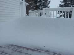 Karah Johnson of Mt. Crawford, VA says she woke up to this snow drift on her deck. #WHSVsnow
