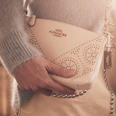 Mini Studs Zip Top Crossbody in Pebble Leather #coach #handbags