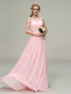 Gorgeous Pleats Halter Neck Pink Chiffon Bridesmaid Dress & informal Bridesmaid Dresses