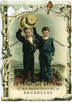 Boys in sailor suits - Vintage trade card