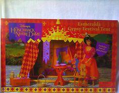 Disney's Hunchback of Notre Dame Esmeralda Gypsy Festival Tent Playset Barbie Childhood Toys, Childhood Memories, Doll Toys, Barbie Dolls, Gypsy Life, Disney Dolls, Disney Love, Notre Dame, Tent