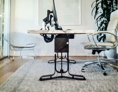 This adjustment from standard table height to standing heigh for most people. Adjustable Table, Table Height, Office Desk, Dining Table, Furniture, Commercial, Home Decor, Projects, Adjustable Desk