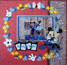 While looking through my stash I found many mickey die cuts......this wreath-style layout would make good use out of these! by belinda