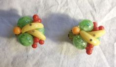 FRUIT SALAD CLIP ON EARRINGS SUPER RARE SIGNED WEST GERMANY