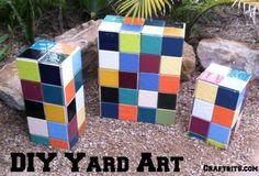 DIY Yard Art: Garden Mosaic Blocks made with Concrete Blocks and Tiles