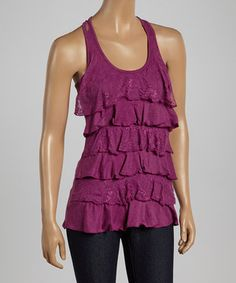 Another great find on #zulily! Heather Light Purple Lace Ruffle Tank by Zenana #zulilyfinds