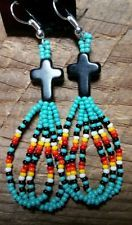 Native American Style beaded Small Cross Loop Fringe earrings Turquoise