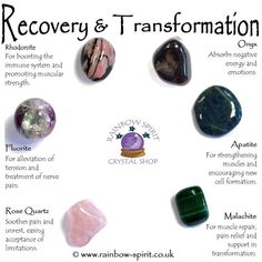 Recovery & Transformation Crystal Set Recovery & Transformation Crystal Set,Heidentum, Mythen und Magie A set of six tumbled crystals, selected for their healing properties of support during a time of recovery from surgery. Crystal Guide, Crystal Magic, Crystal Shop, Crystals And Gemstones, Stones And Crystals, Chakra Crystals, Gem Stones, Crystal Healing Stones, Crystals For Healing