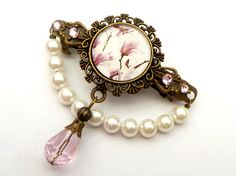 Barrette with magnolia motif and shell pearls, pink bronze, flower hair jewelry…