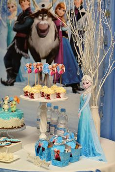 Fun treats at a Frozen birthday party! See more party ideas at CatchMyParty.com!