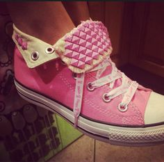 3df6bd26e2f Breast Cancer Awareness Custom Studded Pink Converse All Stars - Chuck  Taylors… Pink High Top