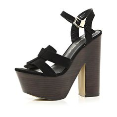 Black ankle strap platform sandals #riverisland