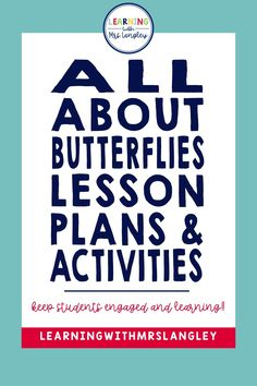 Looking for a preschool or kindergarten appropriate lesson plans and activities on butterflies? This product includes hands on activities, fun facts, and reading opportunities to investigate different types of butterflies and the life cycle of a butterfly! Kindergarten Classroom, Kindergarten Activities, Classroom Ideas, Preschool, Writing Station, Butterfly Life Cycle, Vocabulary Cards, Science Lessons, Hands On Activities