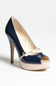 Free shipping and returns on Enzo Angiolini 'Savoye' Pump at Nordstrom.com. A delicate bow strap plays up the feminine feel of a patent peep-toe pump set on a chic-contrast platform and wrapped heel.