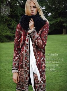 The #ToryBurchFall15 Embellished Long-Sleeve Coat featured in Vogue Japan