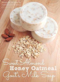 Sweet Almond Honey Oatmeal Goat's Milk Soap - Easy soap making tutorial using a simple goat's milk soap base, oatmeal, honey and a sweet almond fragrance oil.