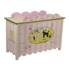 """a CHEST of DRAWERS and BABY CHANGE TRAY from the """"Miss Lily"""" collection of hand painted furniture by Miss Tati and Friends"""