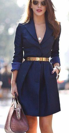 blue dress with gold belt