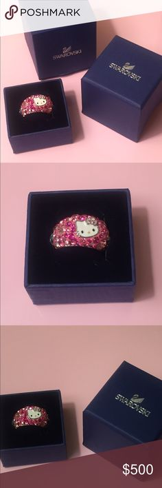 Swarovski Crystal Hello Kitty pink ring. Small Adorable ring- no damages in all correct packaging. Limited edition.  More listing to see what offers I can get, I love this ring and it truly is a classic. Hello Kitty Jewelry Rings