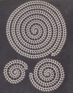 PDF Spiral Doily Set Crochet Pattern Scroll Doilies hollywoodpatterns - Craft Supplies on ArtFireThis is a pdf pattern that will be sent to your email within hours of payment SIZES Large mat in diameter medium sized mat small mat MATERIALS Daisy Merc Crochet Doily Patterns, Thread Crochet, Crochet Motif, Crochet Designs, Crochet Doilies, Crochet Stitches, Crochet Hooks, Crochet Cord, Pdf Patterns