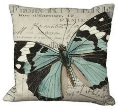 Vintage Pillow: Black White & Aqua Butterfly on French Invoice by Soeuralasoeur