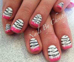 Fun Pink and White Sparkle Zebra French Shellac Nails by Christy@ManeTamers in Mishawaka Indiana
