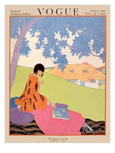 Vogue Cover - June 1917    As vivid as the blue leaves above her, this woman's pink and orange ensemble shows all the fashionable details that readers need to know. In the background awaits her thatched cottage. This charming illustration, by Helen Dryden, appeared on the June 1, 1917, cover of Vogue.