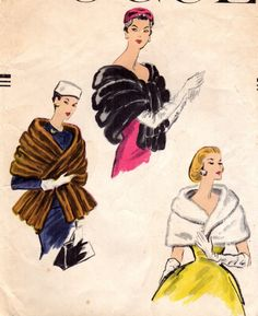 """Vintage 1950s Vogue 9055 Off-The-Shoulder Cape and Wide Sectional Stole with Ends Looped at Front Sewing Pattern Bust 31-32"""" Uncut by BizzieLizzies on Etsy"""