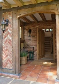 Border Oak and Herringbone brick detail! Style At Home, Border Oak, Brick Border, Oak Framed Buildings, Modern Buildings, Oak Frame House, Brick Detail, Casa Patio, Brickwork
