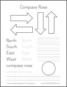 DIY Compass Road for Primary Grades Social Studies/Geography. Free template to create a compass rose, plus complete instructions and fun extension activities. According to the preliminary CCSS, first graders are expected to know how to use a compass rose and the cardinal directions.