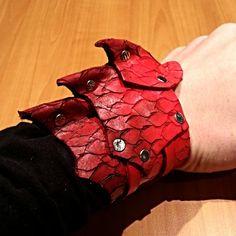 Dragon Armor Leather Cuff by DragonCuffs on Etsy