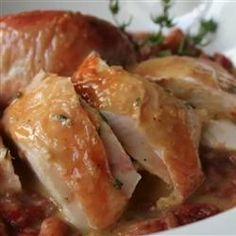 Only roasted turkey with this method. Did not make sauce.  Chef John's Salt Roasted Chicken Allrecipes.com