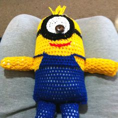 I made this for a friends birthday a few month ago! This was me learning how to adopt crochet to make stuff I like! These little guys are fun & fairly easy! But I don't have a pattern as I played it by ear! I can possibly draw it if anyone really gets desperate! Lol! But enjoy the Minion!