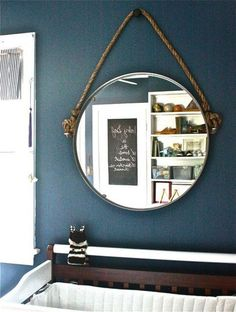 How to hang a rope mirror. DIY Rope Mirror: A Restoration Hardware Inspired IKEA Hack: gallery image 1 Rope Mirror, Diy Mirror, Mirror Hanging, Mirror Ideas, Wall Mirrors, Diy Hanging, Entry Mirror, Mirror Inspiration, Mirror Bathroom