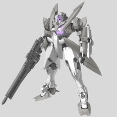 """GNX-603T GN-X (aka GN-X, pronounced """"Jinx"""") is a series of mass production mobile suits by the United Nations Forces in season 1 of Mobile Suit Gundam 00. Equiped With GN Beam Rifle w/ Long Barrel Attachment. Front"""