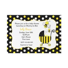 Bumble Bee Baby Shower Invitations by LittleSeiraStudio